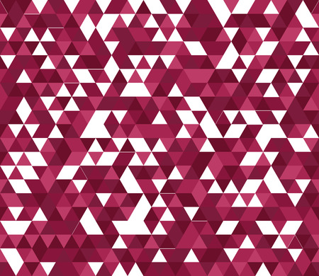 Retro style triangle pattern. Randomly colored triangles, slightly moved off grid. Colors of red vine. Abstract geometric vector background. Illustration