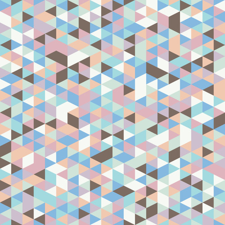 mother of pearl: Retro style triangle pattern. Randomly colored triangles, vertical layout. Colors of mother of pearl shell. Abstract geometric vector background.