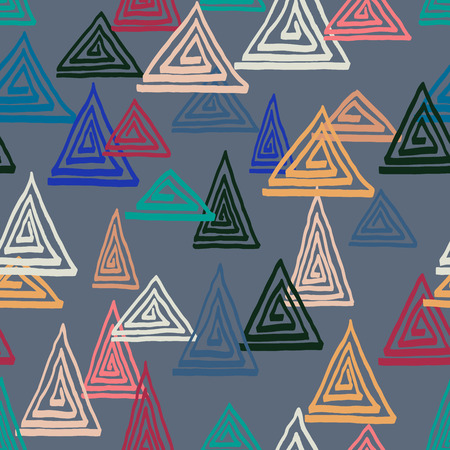 tahiti: Triangle geometric seamless vector pattern. Hand drawn uneven triangles, free layout, relaxed geometry. Tahiti colors. Textile design. Illustration