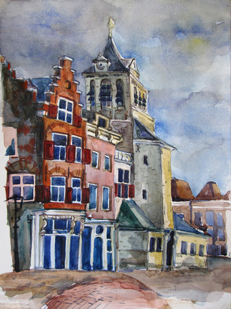 urban grunge: Watercolor view of Delft, the Netherlands. Historic town center, City Hall on the Markt and other historic buildings. Hand painted, original art. Postcard print. Stock Photo