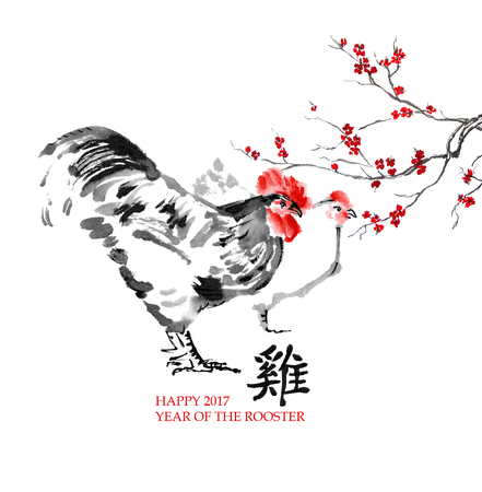 Greeting card Chinese new year. A rooster with a hen and a branch of cherry blossom, oriental ink painting. Chinese hieroglyph