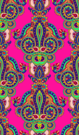 Kaleidoscope abstract geometric seamless paisley pattern. Traditional oriental vertical textile ornament, vibrant tones. Textile design.