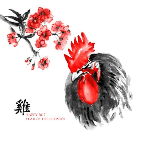 japanese script: Greeting card Chinese new year. Portrait of a rooster with a branch of cherry blossom, oriental ink painting. With Chinese hieroglyph rooster and text Happy 2017 Year of the Rooster.