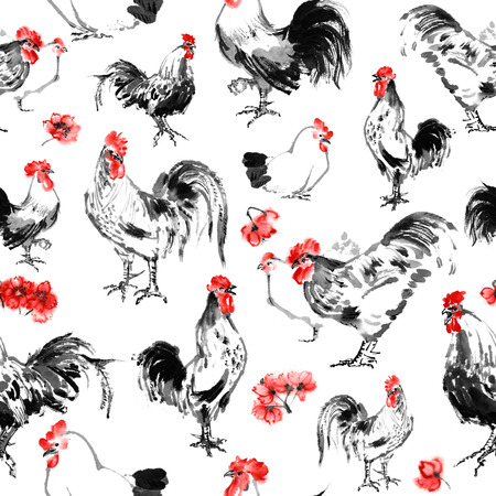 Seamless roosters and hens pattern with cherry blossom, oriental ink painting, isolated on white background. Year of rooster in Chinese horoscope. 版權商用圖片