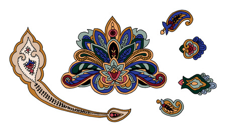 Set of colorful vector paisley elements.  traditional motives of Russia, India, Persia on white background. For your design.