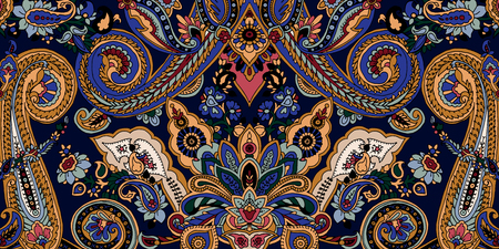 navy blue background: Abstract geometric paisley pattern. Traditional oriental ornament. Vibrant colors on navy blue background. Textile design.