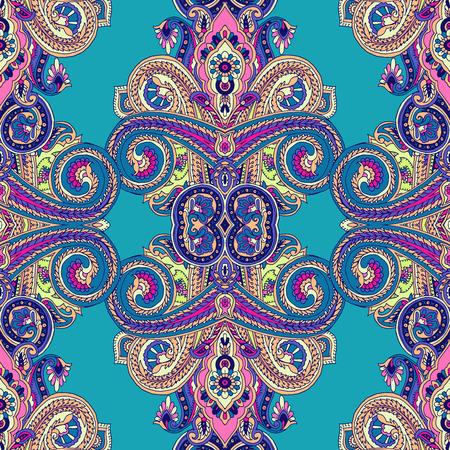 Kaleidoscope abstract geometric seamless paisley pattern. Traditional oriental ethnic ornament, on turquoise blue background. Textile design.