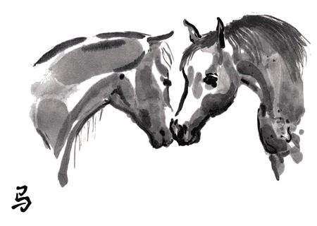 Horses in love oriental ink painting with Chinese hieroglyph horse. Stock Photo