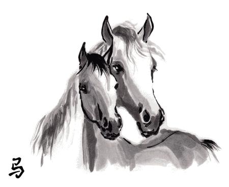 """yegua: Yegua con la pintura de la tinta oriental potro con el jeroglífico chino """"caballo""""."""