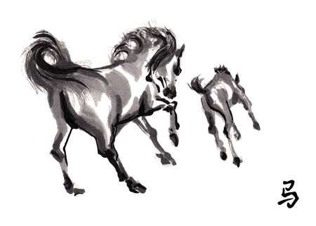 foal: Playing mare and foal oriental ink painting with Chinese hieroglyph horse.
