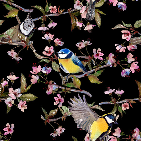 parus: Seamless watercolor pattern birds and cherry blossom branches. Textile print. Isolated on black background.