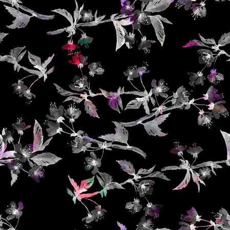 accents: Seamless watercolor pattern cherry blossom branches. Monochromatic with color accents. Isolated on black background. Textile print. Template for scrapbook.
