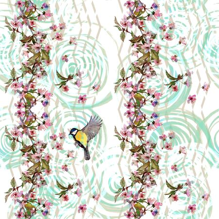 tomtit: Seamless watercolor pattern cherry blossom and a bird on vertical zigzag ornament and spirals. Textile print, wallpaper on white background.