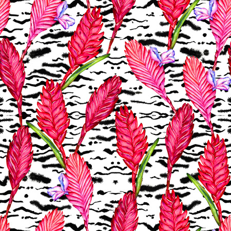 swimwear: Seamless floral tropical pattern. Hand painted watercolor exotic bromelia flowers on background of rain forest foliage. Textile design.