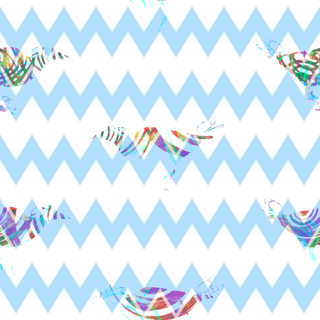 Seamless abstract pattern with exotic birds, spirals and chevron ornament, blended effect, on white background.
