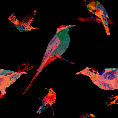 Seamless pattern with birds of paradise. Hand painted watercolor exotic birds. Blended silhouettes. Isolated on black background. Fabric texture. Stock Photo