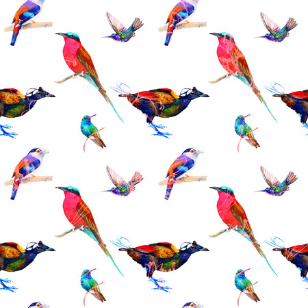Seamless pattern of exotic birds. Hand painted watercolor, blended effect. Floral texture. Isolated on white background. Fabric texture. Wallpaper.