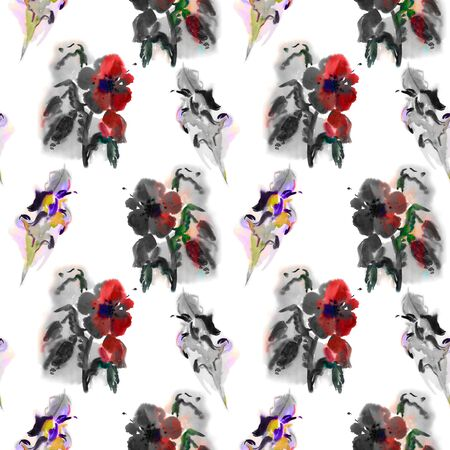 accents: Poppies and irises.Handmade watercolor floral seamless pattern, monochrome with color accents, isolated on white background. Fabric texture. Floral vintage design.