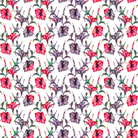 allover: Seamless floral pattern. Exotic hibiscus flowers allover layout with blended effect chevron motif. Red and purple tones on white background. Stock Photo