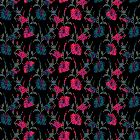 allover: Seamless floral pattern. Exotic hibiscus flowers allover layout with blended effect chevron motif. Red and blue tones on black background.