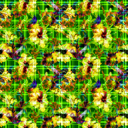 allover: Seamless floral pattern hibiscus flowers and hummingbirds with gingham checks. Hibiscus tropical flowers allover layout with woven effect checks, blended. Fabric texture Stock Photo