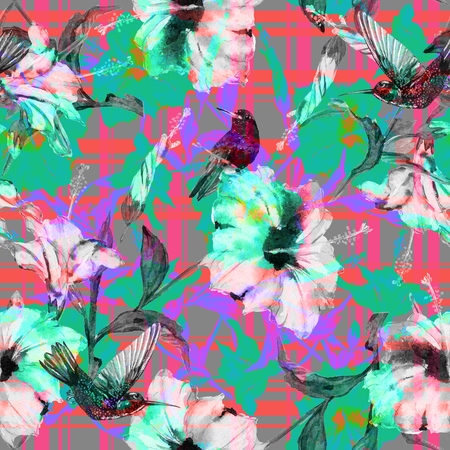 allover: Seamless floral pattern tropical hibiscus flowers and hummingbirds with gingham checks. Birds and flowers allover layout with woven effect checks, blended. Fabric texture Stock Photo