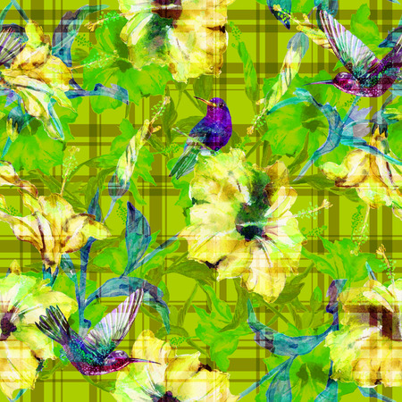 allover: Seamless floral pattern tropical hibiscus flowers and hummingbirds with gingham checks. Flowers and birds allover layout with woven effect checks, blended. Fabric texture Stock Photo