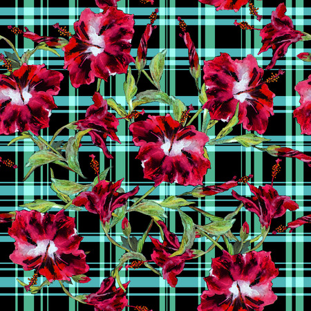 allover: Seamless floral pattern with gingham checks. Maroon hibiscus flowers allover layout with woven effect turquoise checks. Isolated on black background.