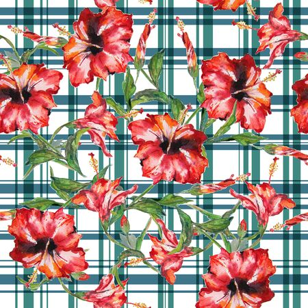 allover: Seamless floral pattern with gingham checks. Red hibiscus flowers allover layout with woven effect checks. Isolated on white background. Stock Photo