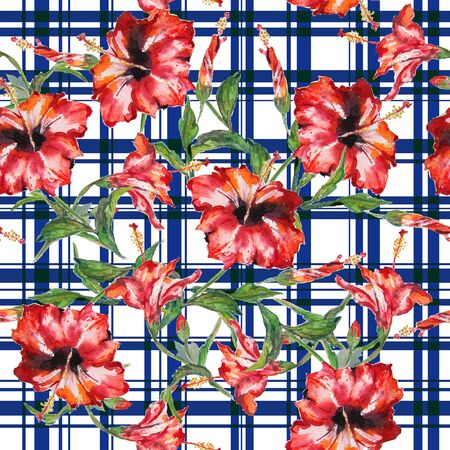 allover: Seamless floral pattern with gingham checks. Red hibiscus flowers allover layout with woven effect blue checks. Isolated on white background.
