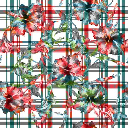 allover: Seamless floral pattern with gingham checks. Hibiscus flowers allover layout with woven effect checks, blended. Isolated on white background. Stock Photo