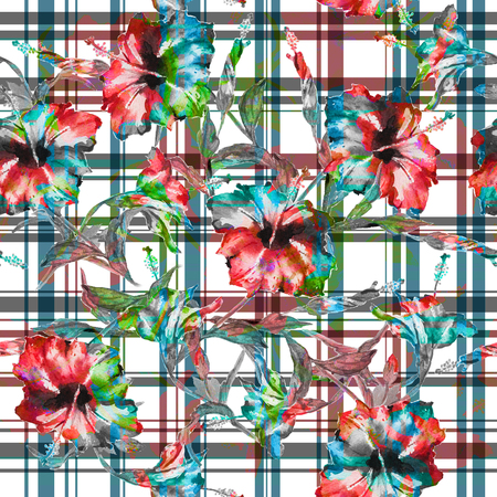 allover: Seamless floral pattern with gingham checks. Red hibiscus flowers blended allover layout with woven effect checks. Isolated on white background.