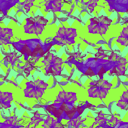 Seamless abstract pattern with exotic birds, hibiscus flowers and chevron ornament, blended effect, luminous colors. Stock Photo
