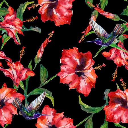 Rojo flores tropicales del hibisco y colibríes revoloteando. sin patrón floral, acuarela pintada a mano. Aislado sobre fondo negro. textura de la tela. Foto de archivo