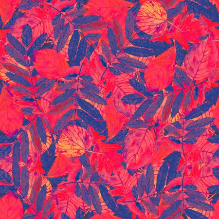Seamless watercolor pattern scattered autumn leaves. Beautiful vibrant fantasy colors. Textile print.