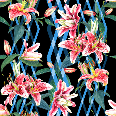 Seamless floral pattern of tropical lilies with vertical diamond ornament, woven effect, blended. Hand painted watercolor. Isolated on black background. Fabric texture.