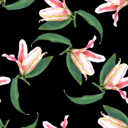 allover: Seamless floral pattern of expanding buttons of pink tropical lilies. Hand painted watercolor. Isolated on black background. Fabric texture. Stock Photo