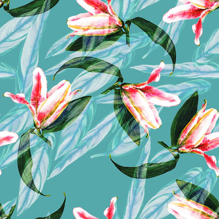 Seamless tropical floral pattern. Pink lilies and exotic calathea leaves on teal blue background, blended effect. Hand painted watercolor art. Fabric texture.