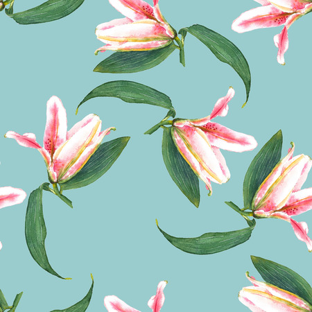 allover: Seamless floral pattern of expanding buttons of pink tropical lilies. Hand painted watercolor. Isolated on aqua blue background. Fabric texture. Stock Photo