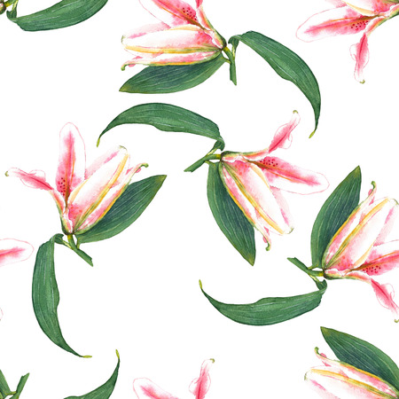 allover: Seamless floral pattern of expanding buttons of pink tropical lilies. Hand painted watercolor. Isolated on white background. Fabric texture.