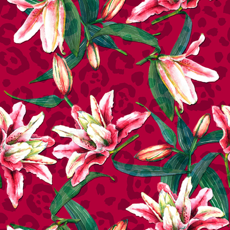Seamless floral pattern of beautiful oriental pink lilies on maroon leopard spots background. Hand painted watercolor tropical flowers. Fabric texture.