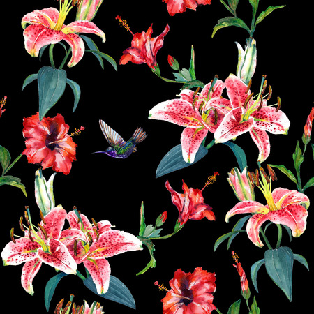 Tropical pink lilies and red hibiscus flowers with a hovering colibri. Seamless floral pattern, hand painted watercolor. Isolated on black background. Fabric texture. 版權商用圖片