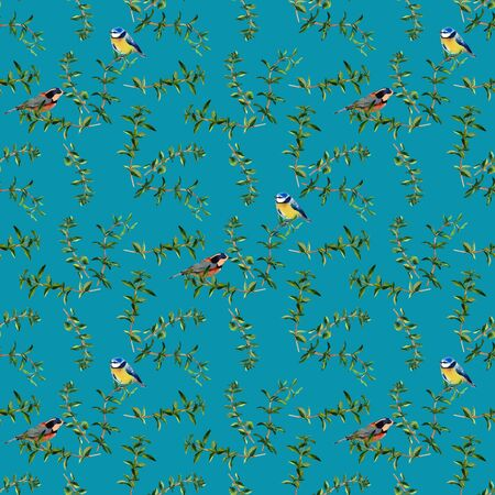 Oregano and birds. Handmade watercolor floral seamless pattern, isolated on turquoise blue background. Fabric texture. Herbs vintage design.