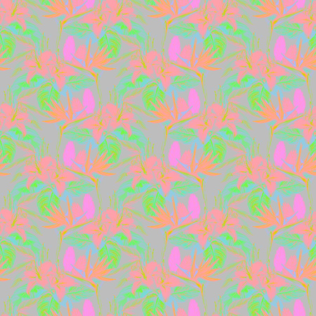 Seamless tropical pattern. Hand painted watercolor exotic plants: flowers of strelitzia and bromelia, pink lilies, calathea leafs. Neon pink and green tones on gray background. Textile design. Stock Photo