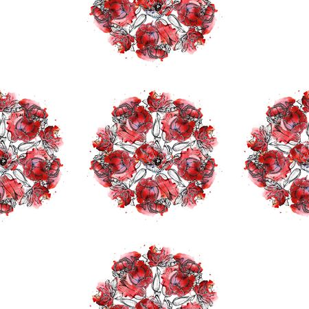 Seamless floral pattern, hand drawn wreaths of red tulips. Isolated on white background. Fabric texture. Template for scrapbook.