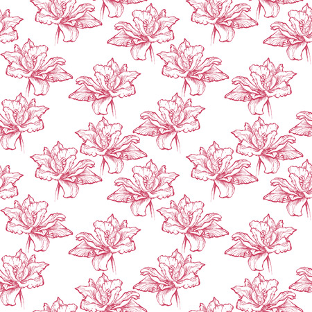 Seamless floral pattern. Hand drawn fuchsia red tulips. Isolated on white background. Fabric texture. Template for scrapbook. Stock Photo