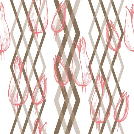 Seamless floral pattern, hand drawn pink tulips on a geometric ornament, vertical diamond layout. Isolated on pale pink background. Fabric texture.