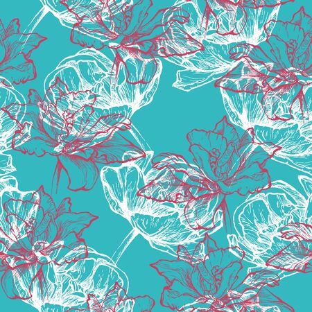 fragrance: Hand drawn white and pink tulips. Seamless floral pattern, Isolated on turquoise blue background. Fabric texture. Template for scrapbook. Stock Photo