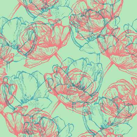 Seamless floral pattern, hand drawn turquoise blue and pink tulips. Isolated on minty green background. Fabric texture. Template for scrapbook.