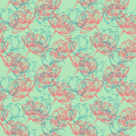 Seamless floral pattern. Hand drawn pink and turquoise blue tulips. Isolated on minty green background. Fabric texture. Template for scrapbook. Stock Photo